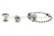 Binding screws with hole<br> 7,5 mm capacity<br>nickel plated
