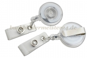 Badge reel clip<br>with belt clip and plastic strap<br>clear